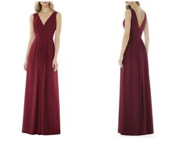 Social Bridesmaids V-Neck Georgette Burgundy Gown Dress Size 16 #8157 - ChicEwe