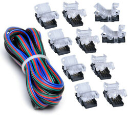 5M Extension Wire+4Pins Quick Connector for Waterproof 10mm RGB LED Strip Light $10.90