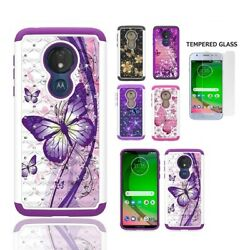 Phone Case for Moto G7 Play Studded Rhinestone Crystal Cover Tempered Glass $8.99