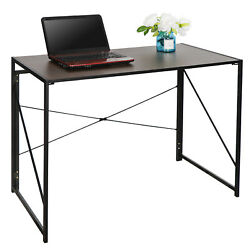 Foldable Computer Writing Desk Home Office Pc Laptop Table Easy Assembly Brown $48.99
