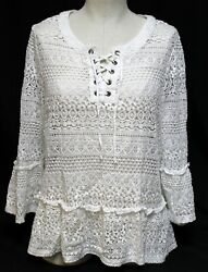 Fever Lace Shirt Swim Suit Bathing Cover up Tunic sz XL Lace up $25.00