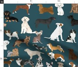 Dog Breed Fabric Dogs Cute Design Pattern Fabric Printed by Spoonflower BTY