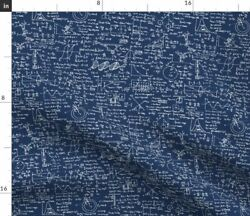 Navy Geometry Mathematics Math Equations Fabric Printed by Spoonflower BTY