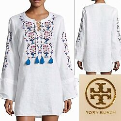 NWT $298 Tory Burch Wildflower Embroidered Beach Tunic Dress New Ivory White M L $129.99