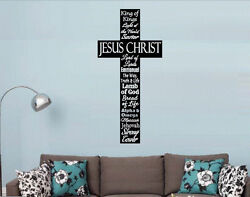 CROSS NAMES OF JESUS Christian Decor Vinyl Wall Decal Lettering Words Religious $21.00
