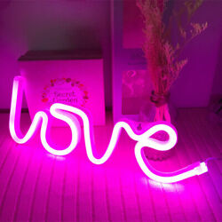 Pink Love Night Lights LED Neon Signs USB Battery Wall for Home Decor Bedroom $14.49