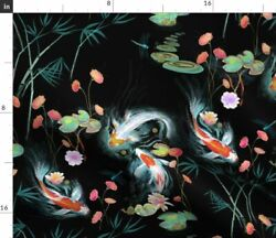 Koi Fish Chinoiserie Floral Japanese Garden Fabric Printed by Spoonflower BTY