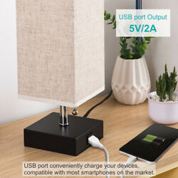 Nightstand Bedside Lamp USB Charging 5V 2 amp Port Shade Desk Study Living Room