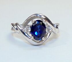Sterling Silver Lab Created Blue Sapphire Ring wDiamond Accents SZ 7