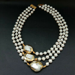 3Strds natural White round freshwater Pearl 24K Gold Plated Keshi Pearl Necklace