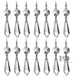 20 Clear Crystal Chandelier Lamp Icicle Prisms Parts Hanging Drops Pendants 38mm $11.40