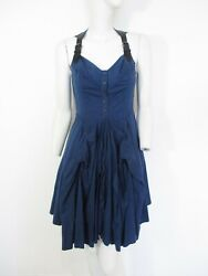 STUNNING WOMENS ALL SAINTS ICONIC AMIKIRI DRESS LEATHER & COTTON BUSTLE 6 BLUE $60.05