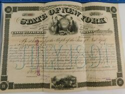 Antique 1873 State of New York 18 Year Canal Improvement Bond Sinking Fund Loan