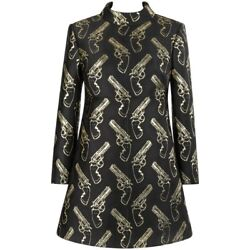 SAINT LAURENT AW 2014 Black & Metallic Gold Gun Print Mini Shift Dress NWT