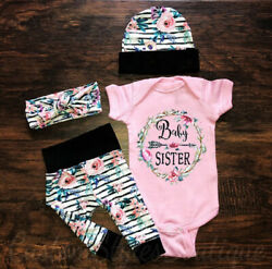 US Newborn Infant Baby Girl Floral Outfit Clothes Romper Tops+Pants+Headband Set