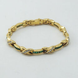 BRACELET 18K YELLOW GOLD EMERALDS AND DIAMONDS. GREAT OPPORTUNITY CIRCA 2000´S