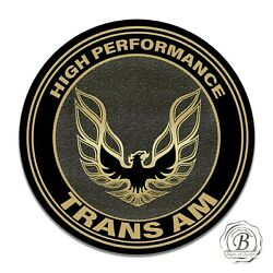 Pontiac Trans Am Black and Gold Hood Bird Eagle Design Circle Aluminum Sign