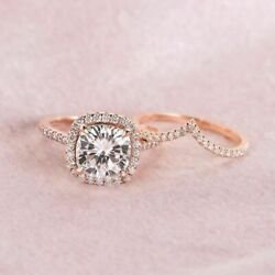 2.15 Cts Cushion Cut Diamond 14K Rose Gold Fn Ladies Engagement Wedding Ring Set