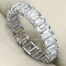 5.25 ct Emerald cut Diamond Ring 14k White Gold Eternity Band E VS1 0.25 ct