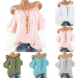 Plus Size Womens Cold Shoulder Tee T Shirt Loose Casual Tunic Tops Blouse Summer