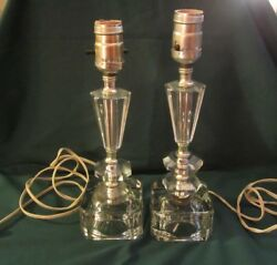 Vintage Set of Imported Hand Cut Leaded Crystal Lamps in Working Condition $35.00