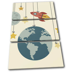 Space Mobile Cartoon Modern For Kids Room TREBLE CANVAS WALL ART Picture Print $219.99