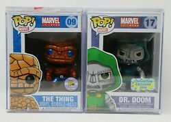 Funko Pop! Marvel The Thing (Metallic) SDCC 2011 & Dr. Doom (Metallic) - MINT