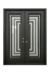Bellaire Double Front Entry Wrought Iron Door Frost Glass 60