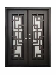 Baytown Double Front Entry Wrought Iron Door Frost Glass 60