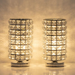 Crystal Table Desk Lamp Set of 2 Modern Bedside Night Lights Crystal Decoration