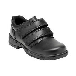 Start Rite 'Rotate' Boy's Black Leather Riptape Fastened Shoes. H FIT SCHOOL