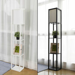 Modern Shelf Floor Lamp Lighting Home Living Room Bedroom w Storage Shelves $41.99