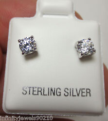 Unisex Stud Earrings Round Brilliant cut Mens or Ladies Sterling Silver 12 cts  $19.99