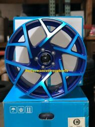 SET OF 4 NEW VENOM WHEELS 31 17X8 5X120 +31 NEON BLUE