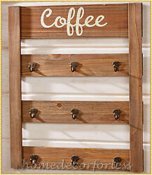Wooden Coffee Mug Rack Holder Organizer Hooks Wall Mount Kitchen Storage Home
