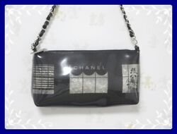 Chanel shoulder bag Windows line vinyl clear chain shoulder leather leather
