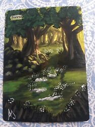 AMAZING MTG ALTERED FOREST 100%HAND-PAINTED ORIGINAL Art By Angela