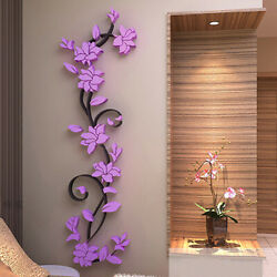 Removable Wall Sticker 3D Flower DIY Decor Mural Home Bedroom Accessories Fas