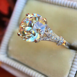 Gorgeous 925 Silver Round White Sapphire Promise Ring Wedding Engagement Jewelry