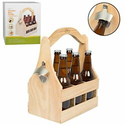 Wooden Beer Caddy Carrier w Bottle Opener and Removable Inserts