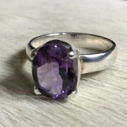 VINTAGE 925 STERLING SILVER 5 CARATS FACETED OVAL PURPLE AMETHYST SOLITAIRE RING