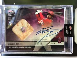 2018 Topps NOW Shohei Ohtani AUTOGRAPH Base Relic First Multi HR Game 5 25 RC $1750.00