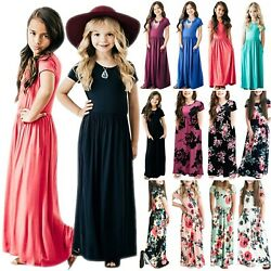 Kids Girls Short Sleeve Boho Long Maxi Dress Summer Casual Beach Party Sundress