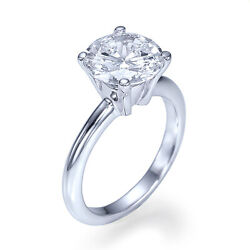 Plain Solitaire 2 15 Carat Colorless Diamond Engagement Ring White Gold