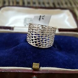 925 SILVER RING WIDE MESH RING SIZE L US SIZE 5.75 NEW WITH TAG SOLID SILVER