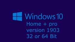 windows 10 home and pro 32 bit or 64 bit version 1903 DVD disc