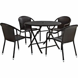 5-Pc Crosley Palm Harbor Outdoor Wicker Patio Furniture Dining Table