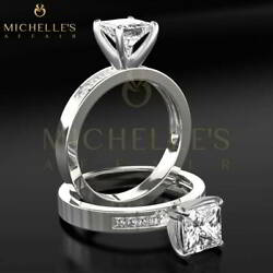 Diamond Ring 1.95 Carat D SI Solitaire With Accents 18K White Gold