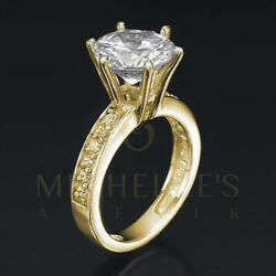 Ladies Diamond Engagement Ring Brilliant Cut Solitaire With Side Stones