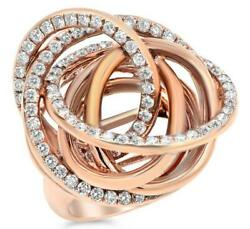 EXTRA LARGE 2.40CT DIAMOND 18KT ROSE GOLD MULTI ROW INTERTWINING LOVE KNOT RING